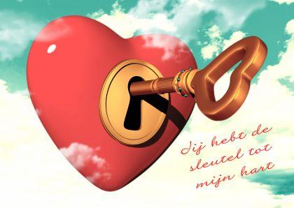 ♥Kaartje2go - Valentijnskaarten - Hart met sleutel vintage kleuren
