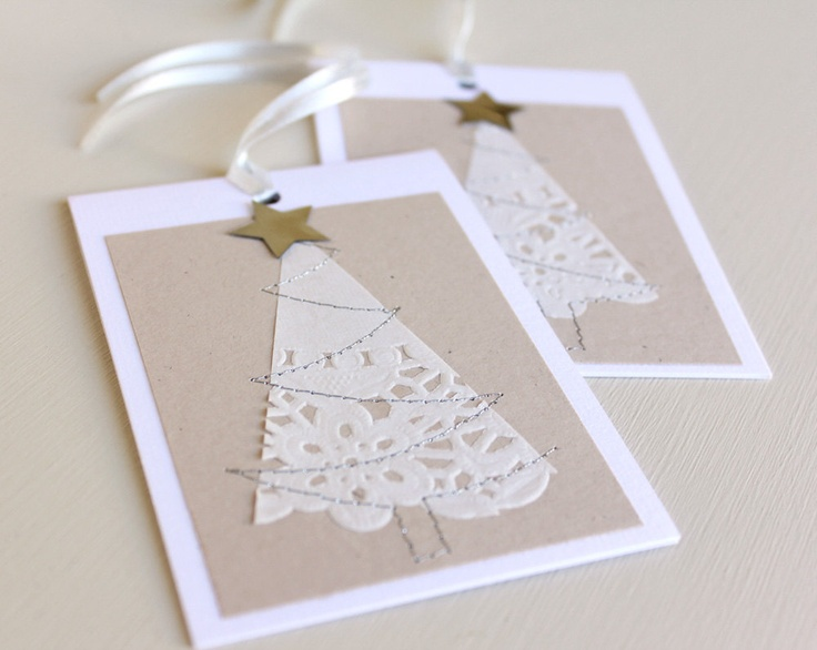 Pretty Pretty for Christmas!  Could paint them green to match certain presents, and cut out the tree shape for variety!