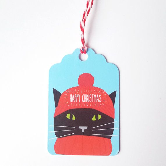 Black Cat Christmas Gift Tags 5 Pack  Cat with woolly by JayneyMac