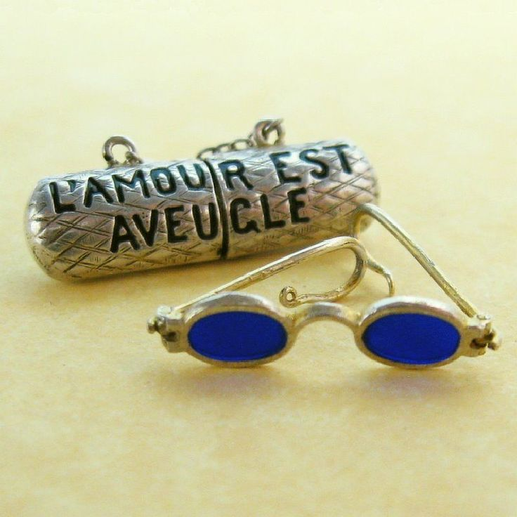 Antique French Charm Art Nouveau Silver Enamel Eyeglasses & Case Love is Blind