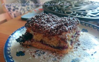 Layered cake with home-made blackcurrent jam