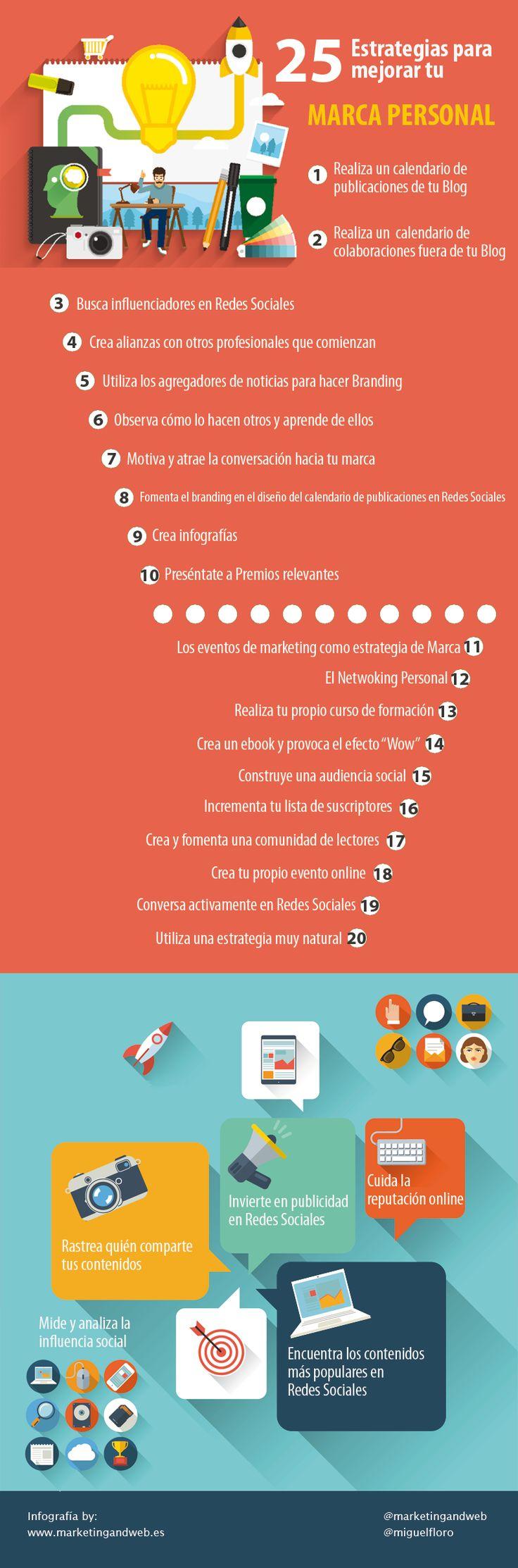 25 Estrategias para impulsar tu Marca Personal #infografia #infographic #marketing