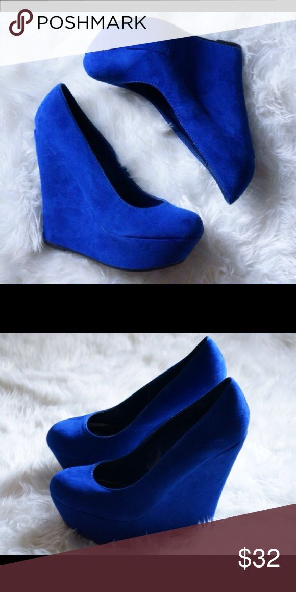 Royal Blue Wedge Heels Royal Blue Wedge Heels, these beauties are practically new Shoes Wedges