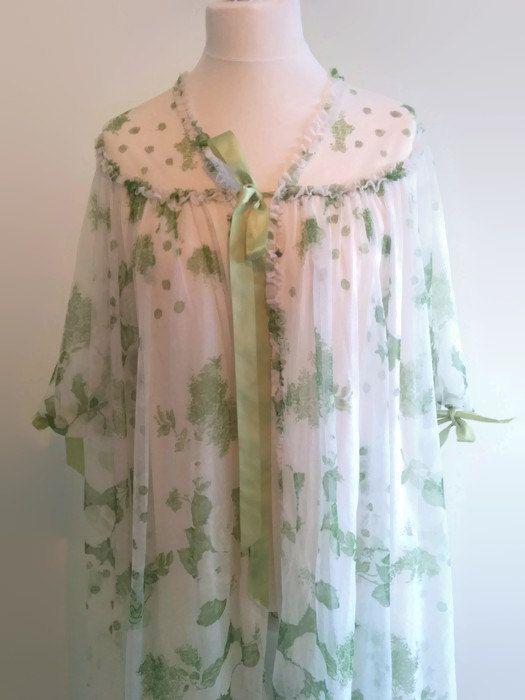 Vintage white peignoir - swishy 1960s spring floral robe  -  green flower negligee - retro pin up lingerie