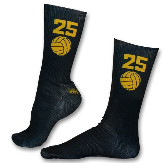 Volleyball Printed Mid Calf Socks Volleyball Team Colors