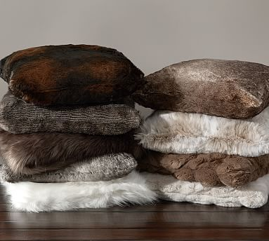 Faux Fur Pillow Cover: Pottery Barn: Ivory