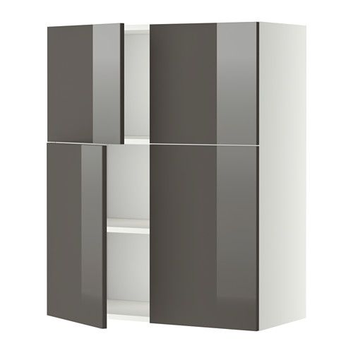 METOD Wall Cabinet With Shelves/4 Doors   White, Ringhult High Gloss Grey. Ikea  KitchenWall ...