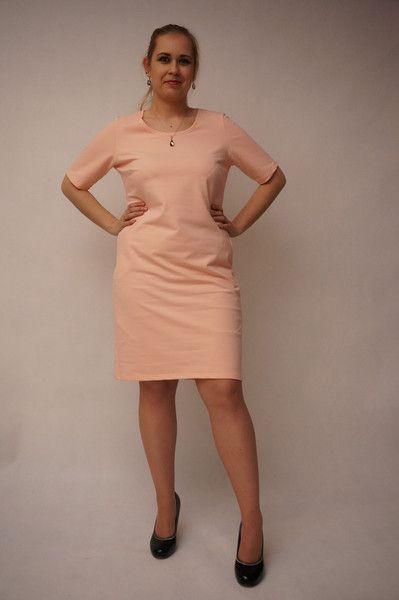 r 46    Sukienka  ołówkowa pudrowy róż  . - HeWoj - Sukienki midi