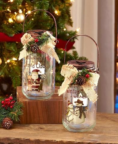 Country Christmas Led Lighted Mason Jar Santa Claus Winter