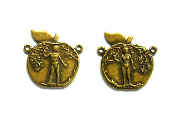 2 Antique Brass Adam And Eve Connectors by TreeChild1 on Etsy, $3.85