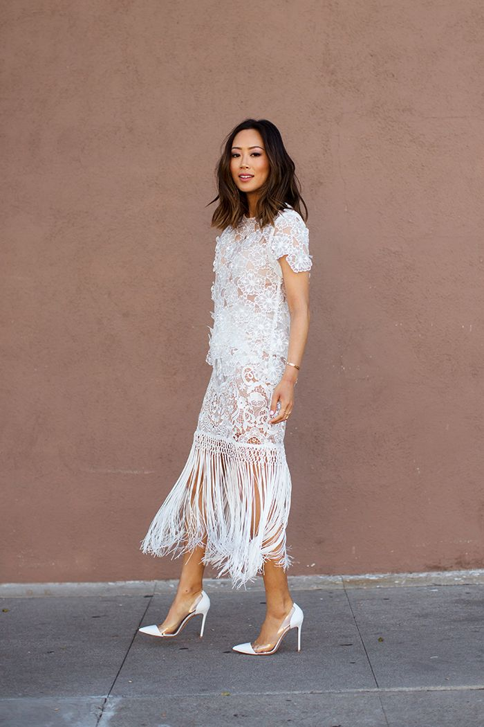 Spring / Summer - street chic style - party style - dressy style - white lace fringe skirt + white side cutout stilettos + white wide cut short sleeve embellished top