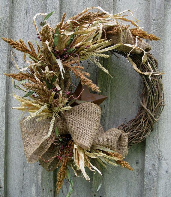 Fall Wreath, Autumn Woodland Wreath, Americana, Thanksgiving, Burlap, Halloween
