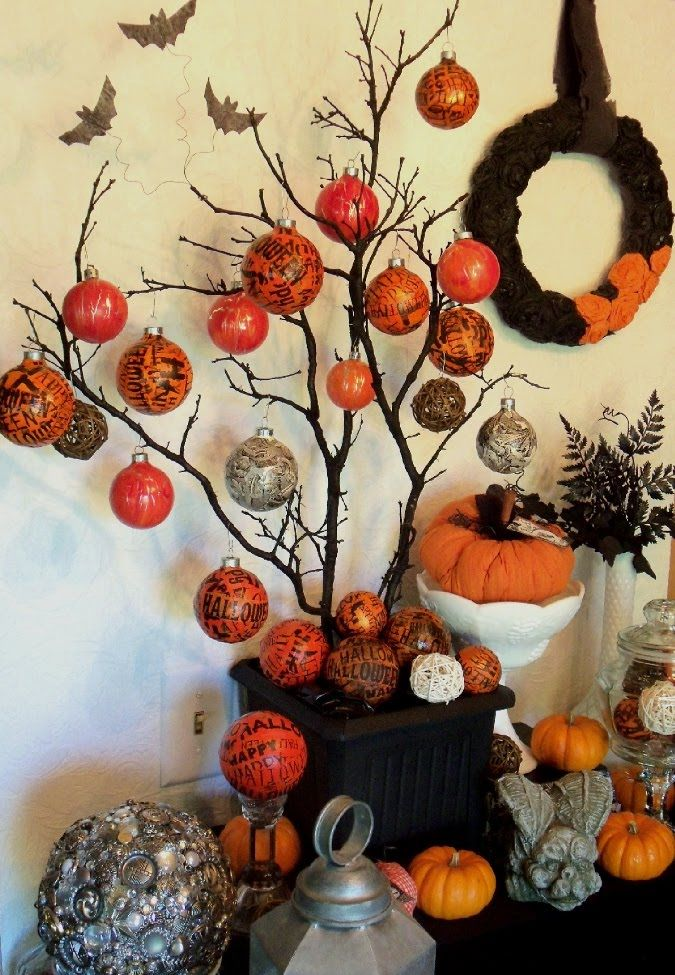 great halloween tree display with diy halloween ball ornaments - Halloween Tree Decorations