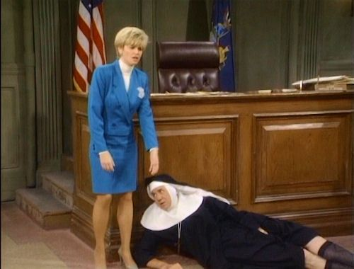 """This goes back a little ways, but Markie Post of TV's """"Night Court"""" definitely belongs on this page. Her legs were fantastic, and she frequently showed them off in pantyhose. Her and John Larroquette played attorneys, and their chemistry was funny and sexually charged.  No doubt she was a feisty woman in pantyhose!"""