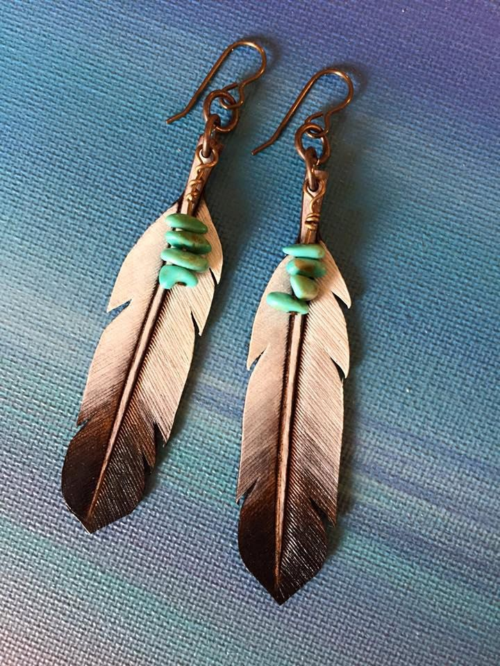 EAGLE FEATHERS Hand carved and hand painted leather feather earrings with natural Arizona Kingman turquoise. by StonesRiverLeatherTN on Etsy
