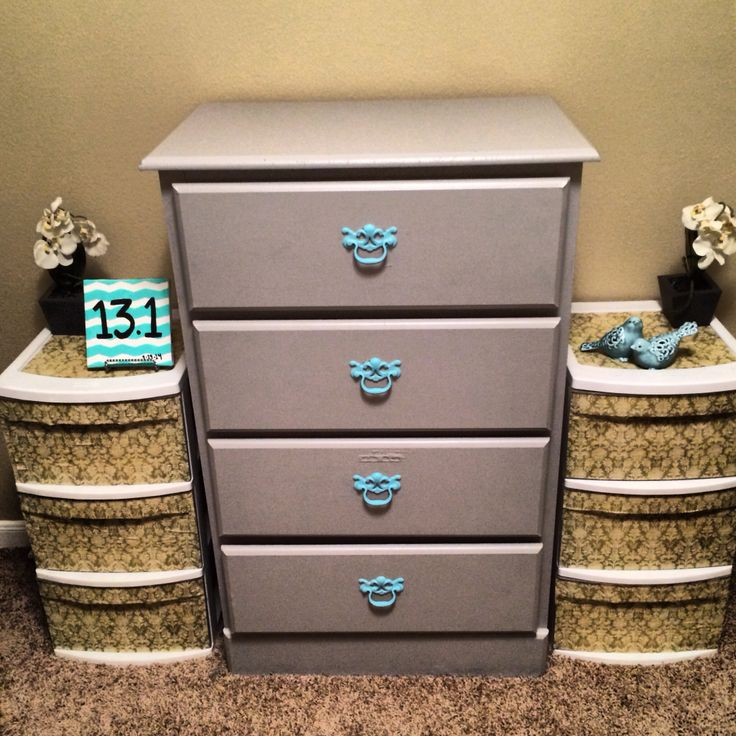 Modpodge plastic containers and painted old dresser #newlook #makeover