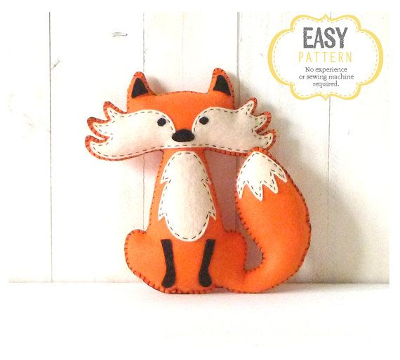 Fox Stuffed Animal Pattern, Felt Hand Sewing Fox Plushie Pattern, Fox Softie Pattern, Instant Download PDF