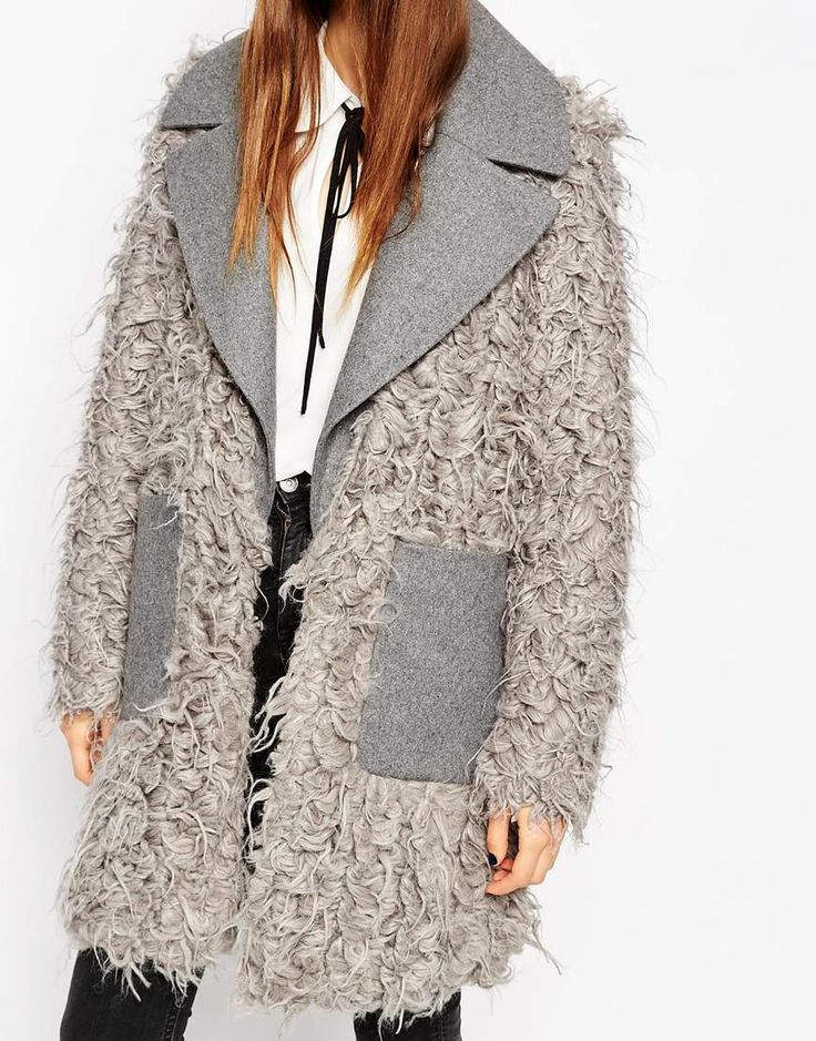 Image 3 of ASOS Coat with Faux Fur Body and Contrast Collar 163/98