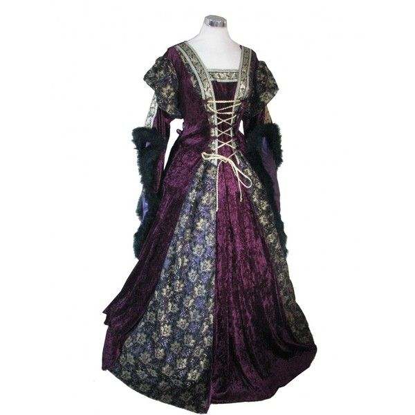 Ladies Medieval Renaissance Costume And Headdress ($55) ❤ liked on Polyvore featuring costumes, dresses, medieval, gowns, medieval dress, party halloween costumes, renaissance lady costume, disco halloween costumes, renaissance costume and womens disco costumes