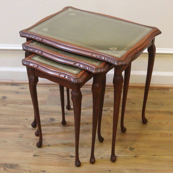 Vintage English Nesting Tables, Set Of 3, Leather And