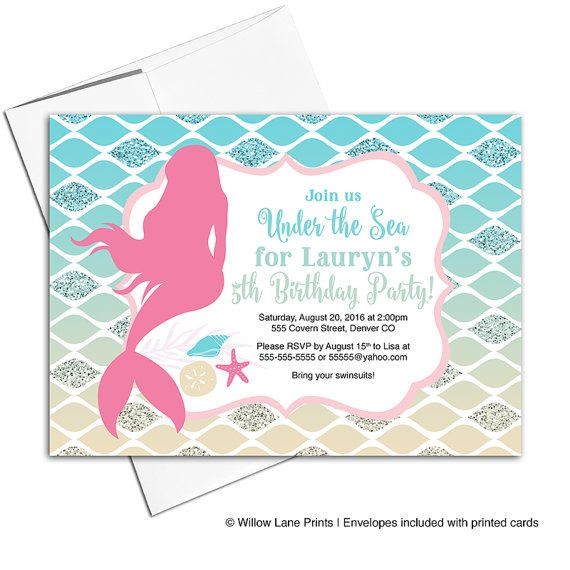 Mermaid birthday invite for girl | under the sea birthday party invitations | fifth birthday invitations | pool party invitation - WLP00309