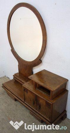 Misto pentru dormitor, vedem daca avem loc si de ea si de fotoliu  Toaleta Vintage Stil Art Deco, Lemn Masiv; Comoda cu Oglinda, 370 ron - Lajumate.ro