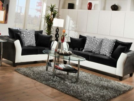 Avanti Black And White 2 Piece Living Room Set Comes With A Flared Armrest  Covered