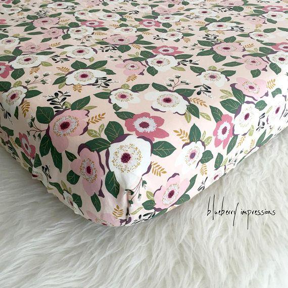 313d982582ddd Blush Floral Cotton Fitted Crib Sheet Mini Crib Cot Sheet ...