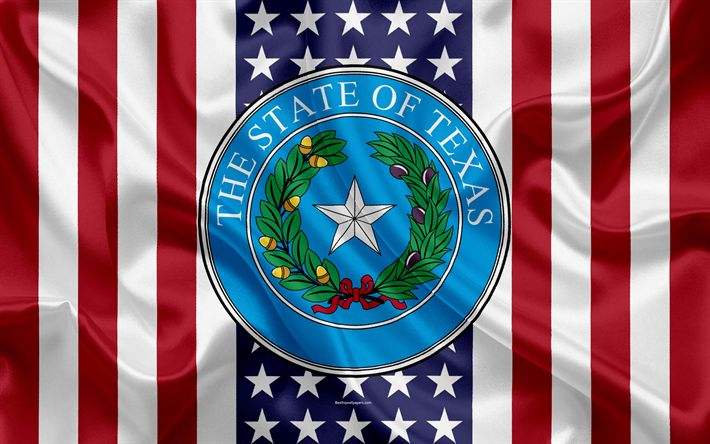 Download wallpapers Texas, USA, 4k, American state, Seal of Texas, silk texture, US states, emblem, states seal, American flag