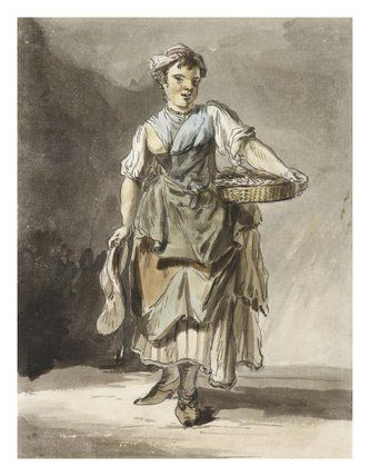 Shrimp girl: 1759, Paul Sandby, possibly wearing stays.