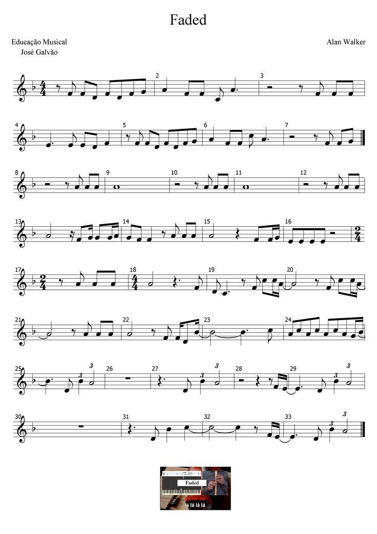 Faded - Alan Walker Partitura sem legenda Educação Musical