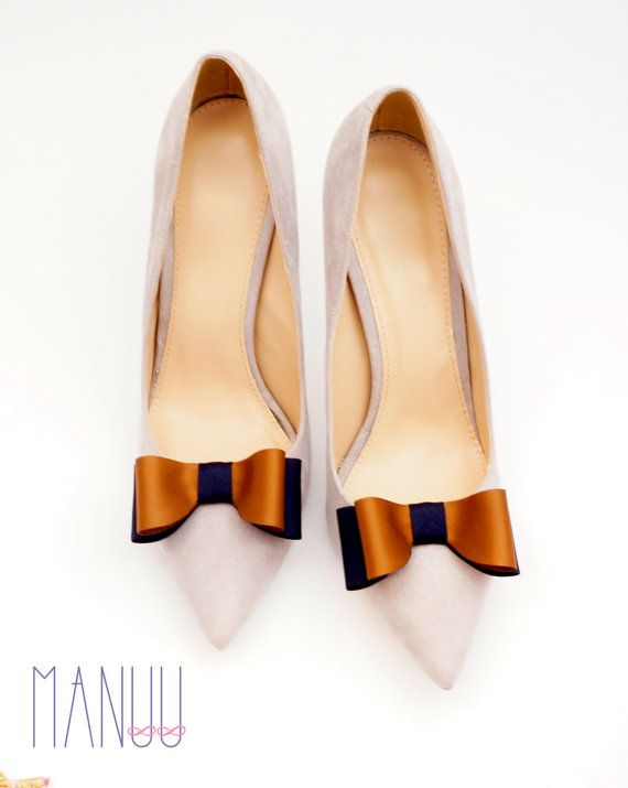 Navy caramel bows shoe clips Manuu two-tone shoe by ManuuDesigns