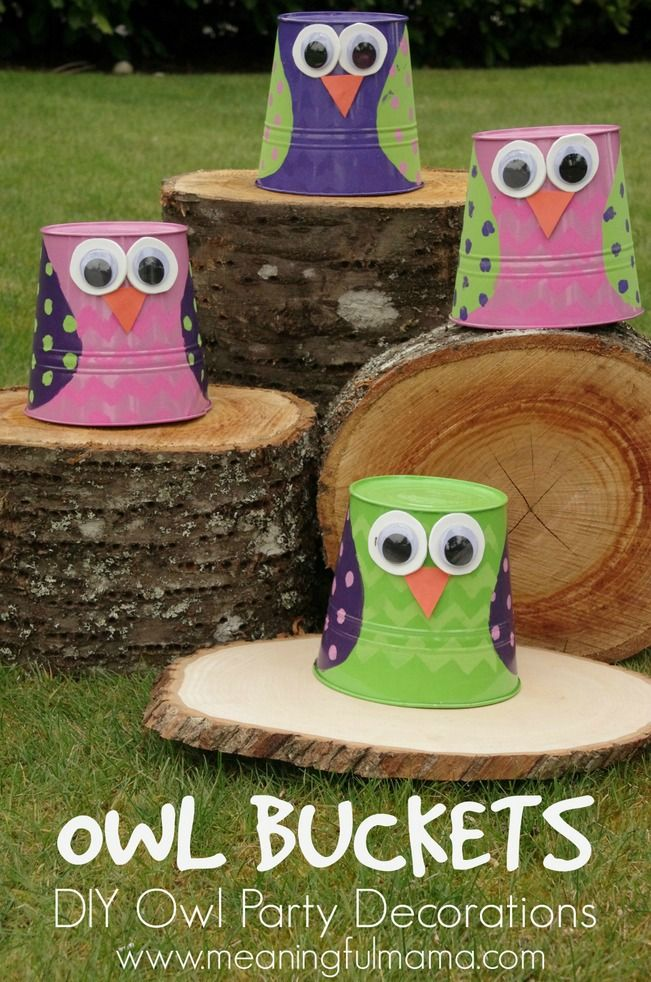 DIY Owl Party Decorations - Owl Buckets - could make these on solo cups!!