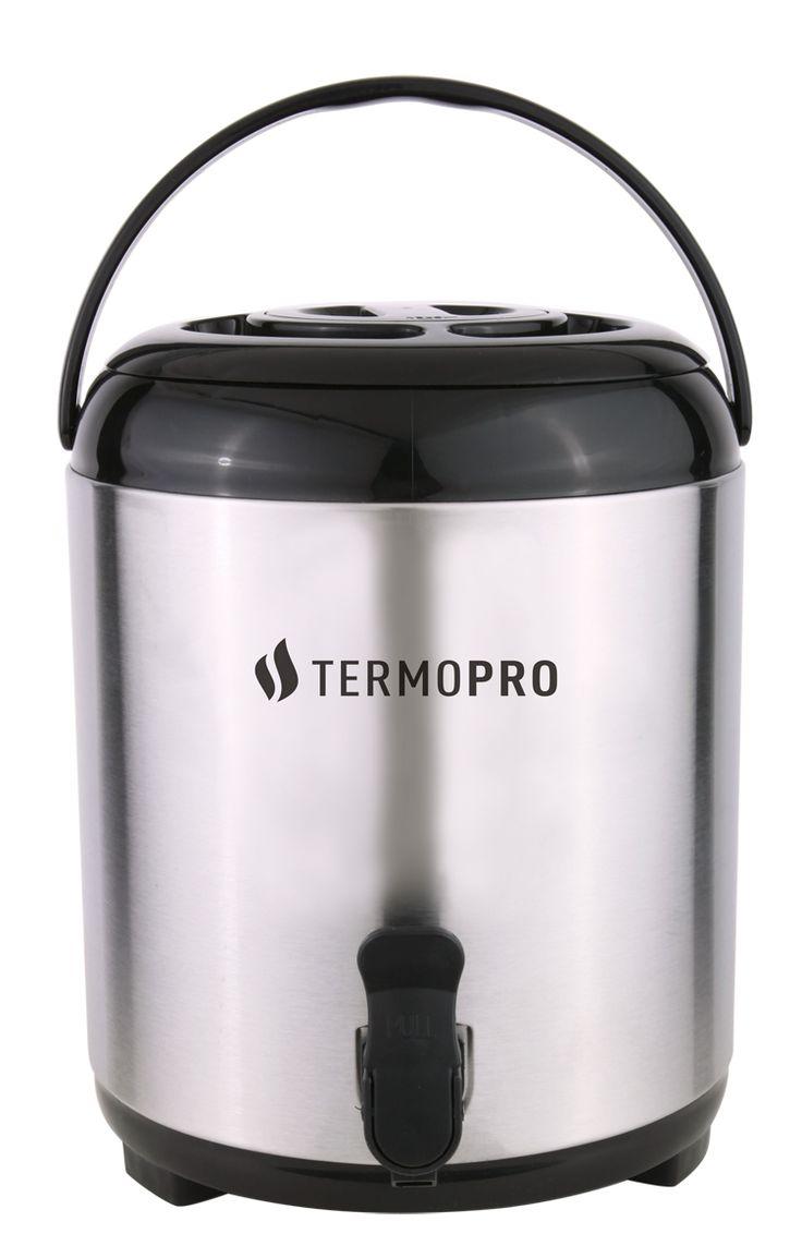 Ref.: TP6520 BOTIJÃO TÉRMICO AÇO-INOX 8L  Ideal para restaurantes, buffets, hotéis! O Botijão Térmico da Termopro é produzido com material de alta qualidade, mantendo a bebida quente ou fria por até 3 horas. Tampa removível, adequado para utilizar direto em máquina de café. Além disso, facilita a sua limpeza e manutenção. Boca larga com interior em alumínio com superfície lisa, facilitando o escoamento do líquido e a higienização da garrafa. Sistema de torneira para facilitar a retirada do…