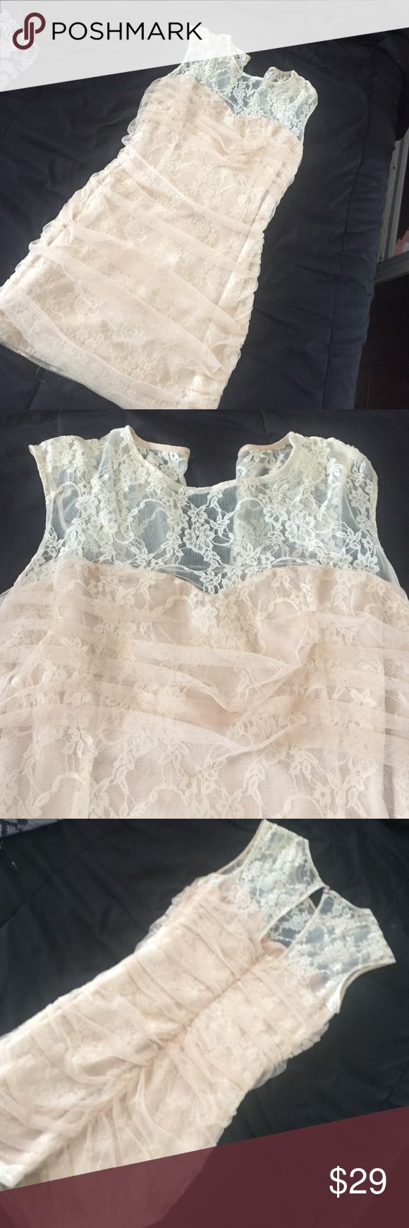 Lacy creme dress! Adorable! Lacy creme dress! Purchased from Nordstrom. Worn once at the Miss California USA pageant Nordstrom Dresses Mini
