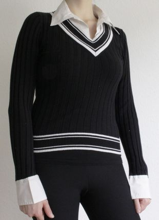 Kaufe meinen Artikel bei #Kleiderkreisel http://www.kleiderkreisel.de/damenmode/pullis-and-sweatshirts-langarmlig/126296928-schwarzer-pulli-mit-eingenahtem-kragen-von-new-yorker