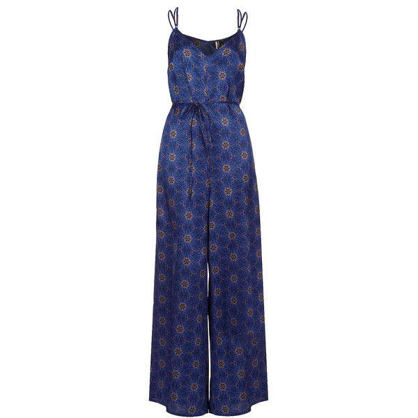 TOPSHOP Spider Floral Jumpsuit ($92) ❤ liked on Polyvore featuring jumpsuits, dresses, jumpsuit, playsuit, eleanor, blue, blue jump suit, romper jumpsuit, jump suit and playsuit romper