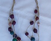 Necklace of colored terracotta and paper pulp beads