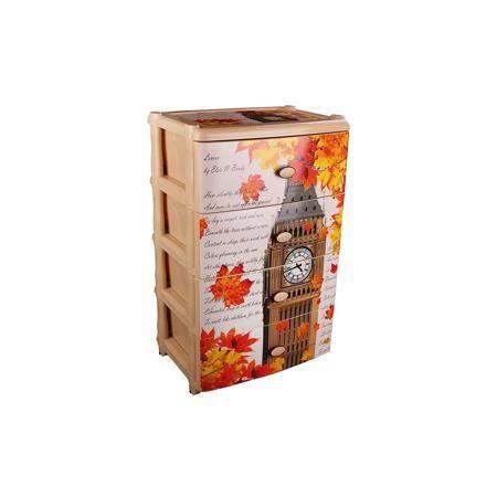 """Alternativa Комод широкий """"Листопад в Лондоне"""" 4-х секц. , Alternativa  — 2449р.  Характеристики:  • Предназначение: для кухни, ванной, спальни, прихожей • Пол: универсальный • Материал: пластик • Цвет: бежевый, оранжевый, желтый • Размер (Д*Ш*В):  42,5*56*90,5 см • Вес: 6 кг 200 г • Количество секций: 4 шт. • Тип ящиков: выдвижные, с ручками • В комплекте имеется инструкция по сборке • Форма: прямоугольный • Особенности ухода: разрешается мыть теплой водой  Комод широкий """"Листопад в…"""