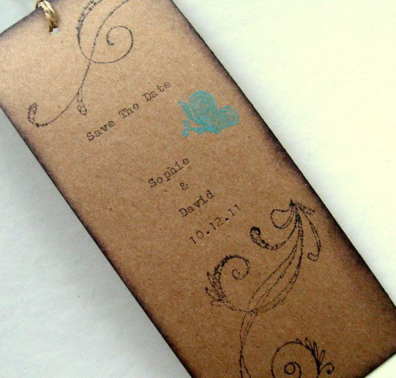 save the date bookmark rustic wedding hand typed by 0namesleft, $20.00