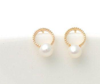 14k Gold Pearl earrings, wedding invitation,gold earrings for women, invitation, tiny earrings,minimal earrings,gold ball earrings,vtrear-11