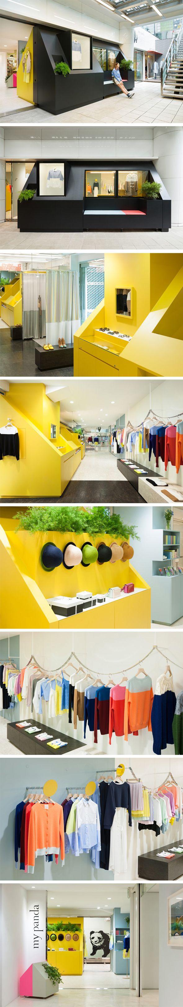 """Loja colorida com exposição divertida.  Interessante """"gentileza urbana"""" dentro do shopping. My Panda Retail Store - Torafu Architects"""