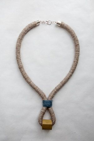 Brass, wrapped rope w/ beige wool & blue detail [05.1] | Handmade Statement Necklace_Etsy_myLifebox