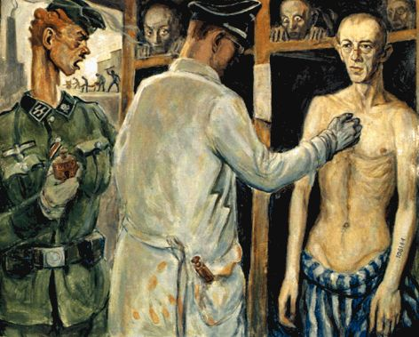 The Experimental Injection by David Olère. 1945, 92x72 cm, A Living Memorial to the Holocaust, New York.  The infamous Dr. Mengele administers an injection as terrified prisoners look on.