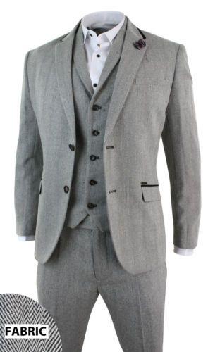 Mens Grey Black Tweed Herringbone Blazer Jacket Fitted Smart Casual Retro  Vintag