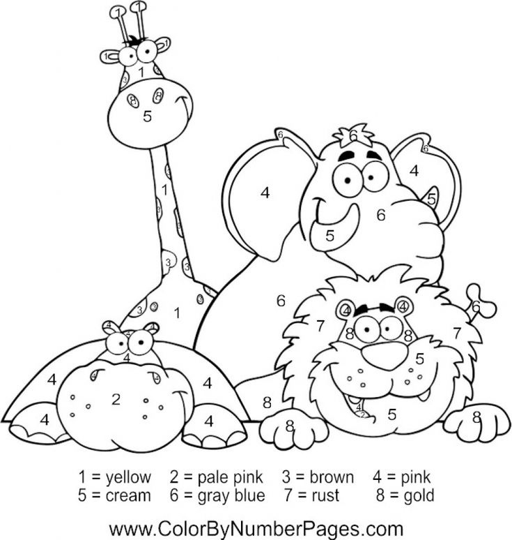 Happy Zoo Animals Color By Number Coloring Picture