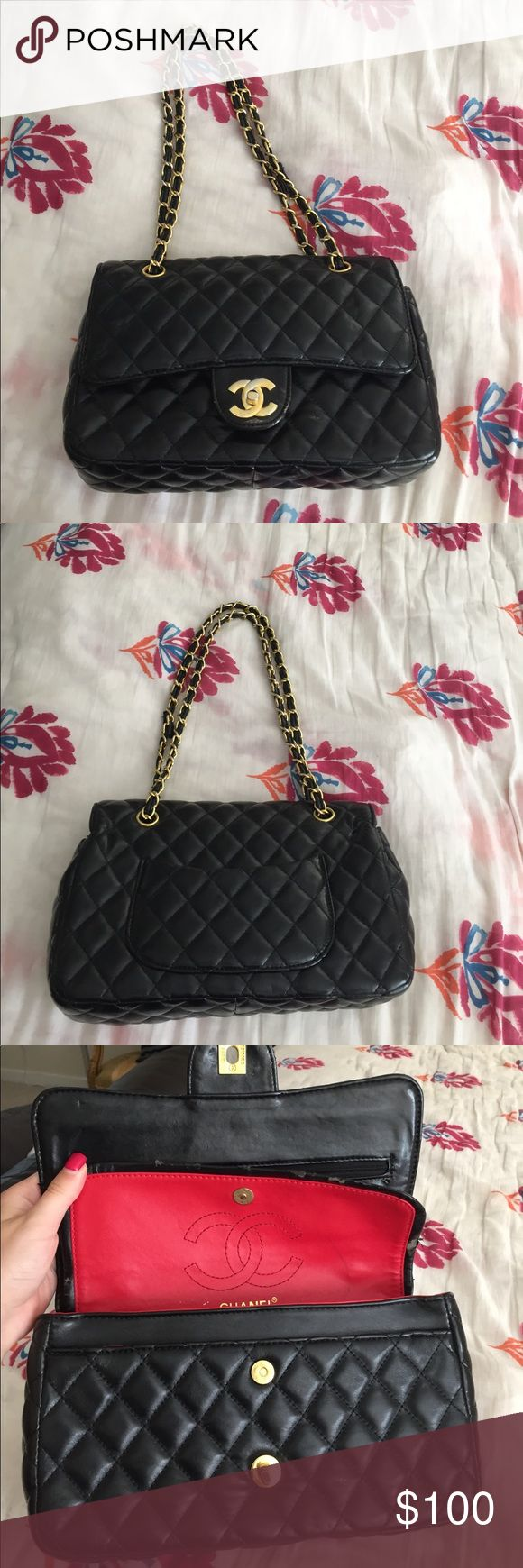 Chanel handbag NOT AUTHENTIC!! Real leather. Gold hardware. Can wear as crossbody or regular shoulder bag. Has only been carried twice for two occasions. Handbag measurements are 10.5L x 3W x 7H. NO TRADES!!! Does have some peeling in picture 3. Bags Shoulder Bags