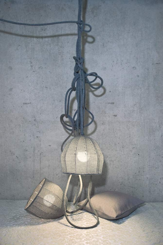 home inspiration -- knitted lampshades.  warm and cozy, would go great in a lodge styled home or on a covered porch