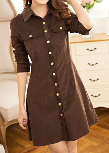 Brown Long Sleeve Button Down Fitted Shirt Dress