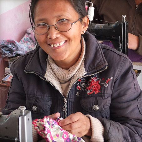 Dawa has been working for Eternal Creation since 2009, and has learnt how to make children's clothes and pyjamas.  Dawa, whose name means moon, was born in the Tibetan capital, Lhasa, in 1979, exactly two decades after His Holiness the Dalai Lama fled to India to seek asylum. Click on her picture to learn more about her amazing story.